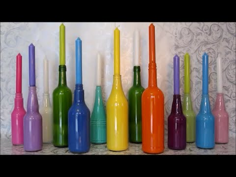 Recycled Crafts Ideas For Kids | DIY Recycle Glass Bottles into Candlesticks And Vases