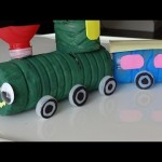Recycled Art Ideas for Kids: Colorful Train from Plastic Bottles