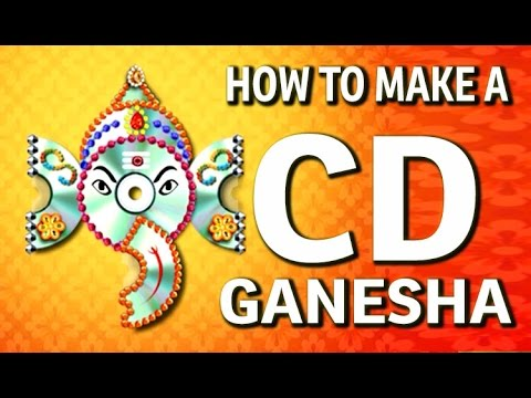 How to make a Wall Hanging CD Ganesha – Waste CD Craft Ideas – (DIY Recycled CD Craft)