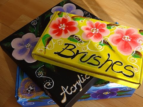 How to Do It Yourself Projects – Painting onestoke flowers recycled carboard boxes