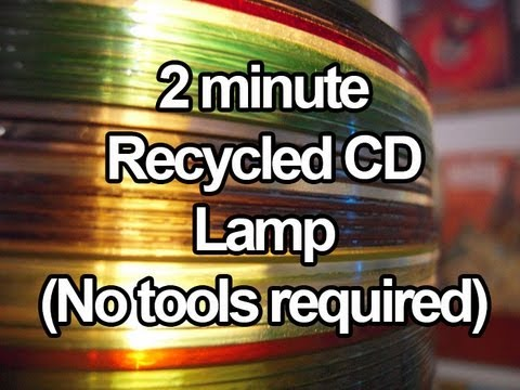 2 minute recycled CD lamp (no tools required)