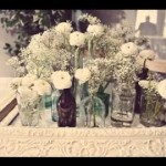 Do it yourself Vintage wedding ceremony desk decorating ideas