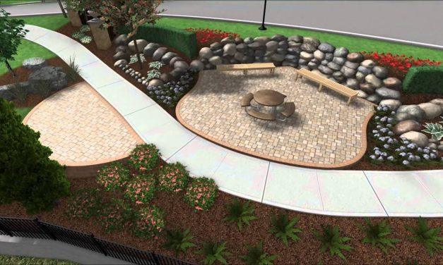Commercial Entry Way – Patio – Stacked Stone Wall – Landscape Design – 3D Digital Walkthrough