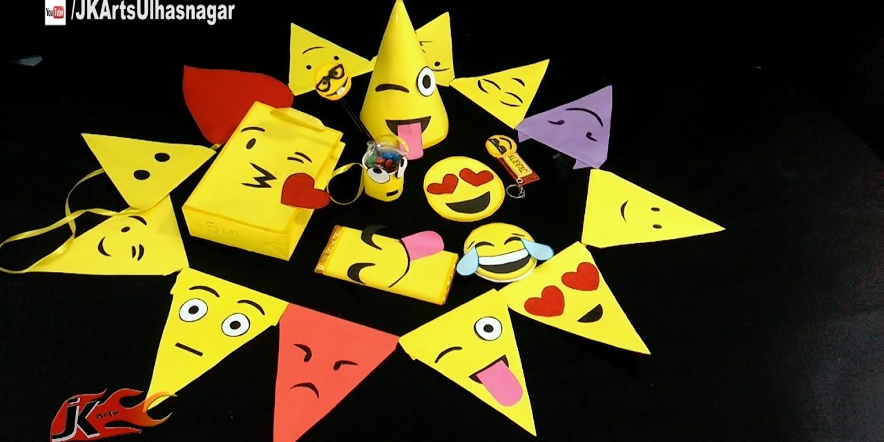 DIY 9 EMOJI PARTY Projects | Easy Emoji Party Decoration and Accessories | JK Arts 1208